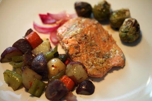 Steelhead Trout with Sauteed Vegetables.