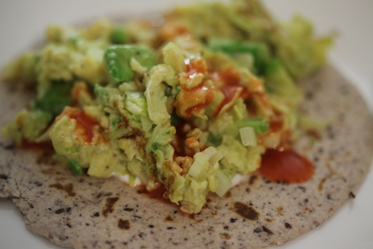Avocado and Leeks Breakfast Taco. | Improvised Cooking
